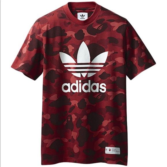Camo X Nwt Adidas T Red Shirt Bape N0w8mnv